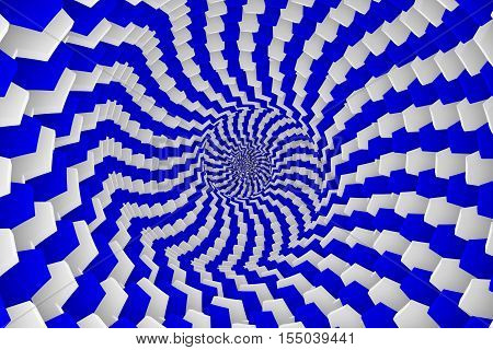 abstract background with box blue and white twist 3d illustration