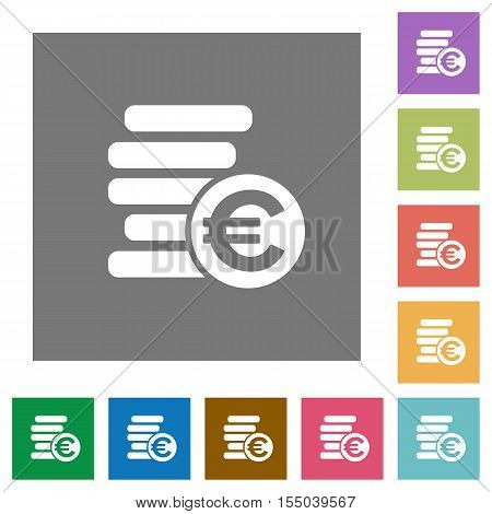 Euro coins flat icons on simple color square background.