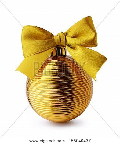 Golden Christmas ball with ribbon bow isolated on white background
