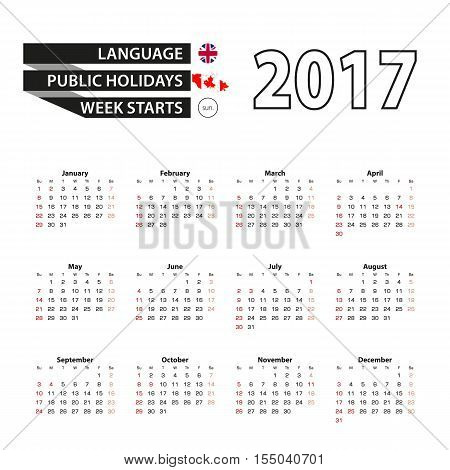 Calendar 2017 on English language. With Public Holidays for Canada in year 2017. Week starts from Monday. Simple Calendar. Vector Illustration.