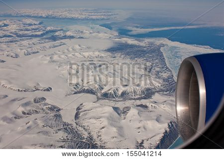 Aerial view of icy beauty of Nunavut Province, Canada