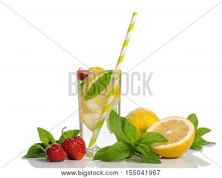 Two Glasses  With  Lemonade . Lemon And Mint, Strawberry Isolated On White