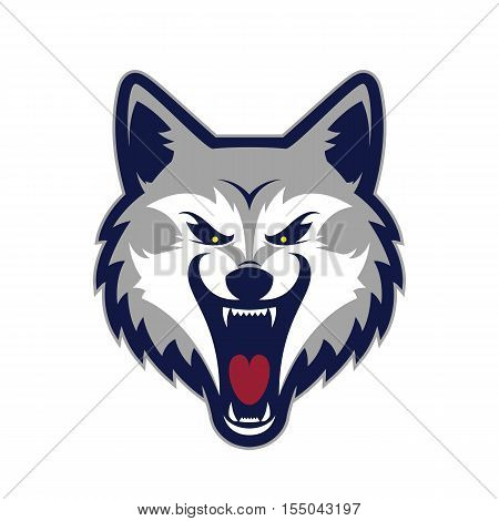 Clipart picture of a wolf head cartoon mascot logo character