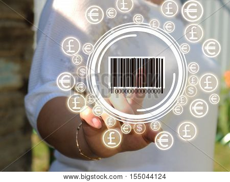 Businesswoman pressing barcode of a product on the touch panel. Barcode and the dollar, the Euro, the currency network. Web icons.