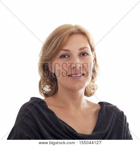 Bust portrait of a smiling middle-aged woman of the European type on a white background