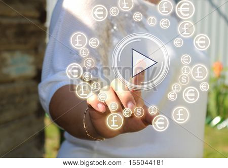 Businessman pressing play button on a touch screen. To start or initiate projects, startups. Web icons.