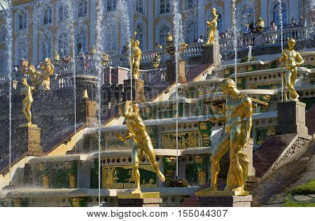 SAINT PETERSBURG, RUSSIA - JULY 03, 2015: A fragment of the fountain of the Grand cascade in Petrodvorets
