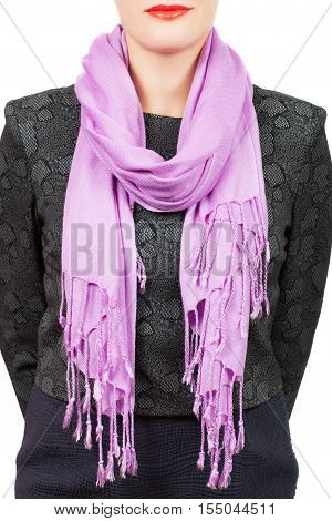 Silk Scarf. Lilac Silk Scarf Around Her Neck Isolated On White Background.