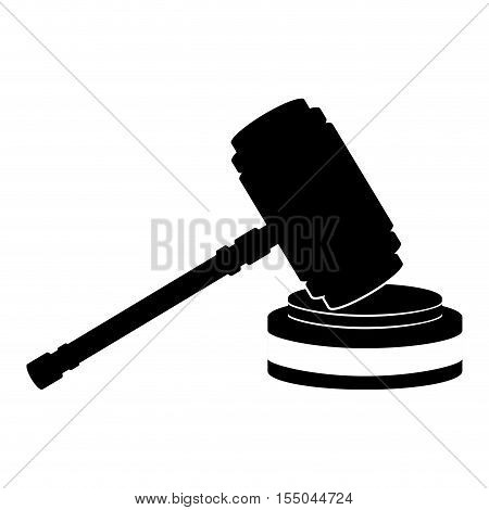 silhouette of hammer of justice law icon over white background. vector illustration
