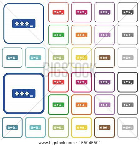 Typing password color icons in flat rounded square frames. Thin and thick versions included.