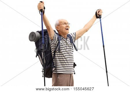 Overjoyed elderly hiker gesturing happiness isolated on white background