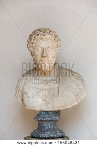 ROMA, ILTALY - JUNE 12, 2015: Ancient bust of the man in the baths of Diocletian in Rome. Italy