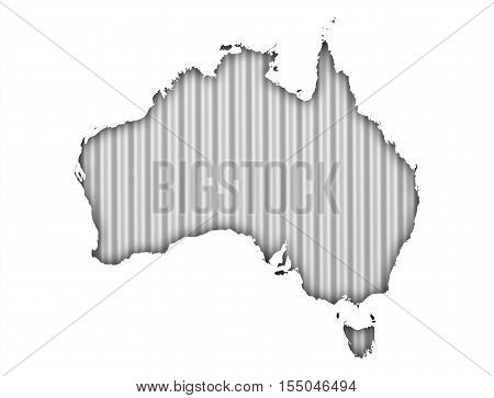 Map of Australia on light corrugated iron