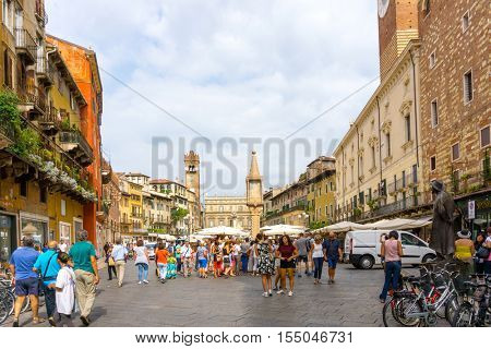 Verona, ITALY - September 3, 2016. Beautiful street view of  Verona center. Shakespeare's plays are set in Verona: Romeo and Juliet, The Two Gentlemen of Verona, and The Taming of the Shrew.