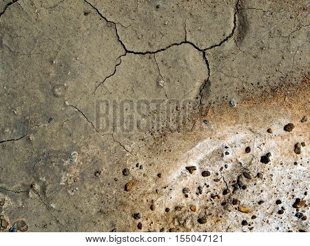 Cracked and separated texture on moist clay
