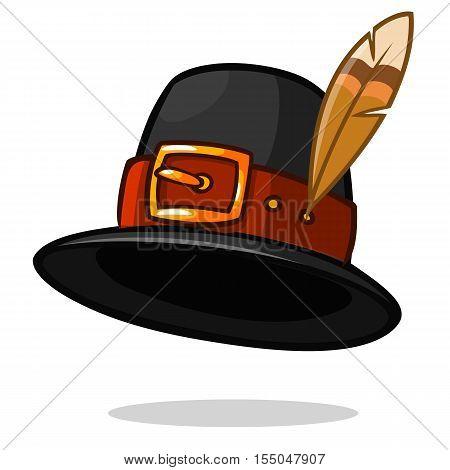 Pilgrim hat on white Thanksgiving symbol vector