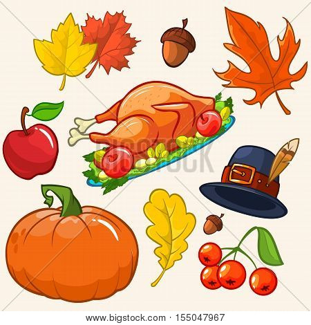 Set of colorful cartoon icons for thanksgiving day: pumpkin autumn leaves pilgrim hat turkey akorn apple cranberries