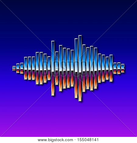 80s styled sound wave. 1980 chrome design poster