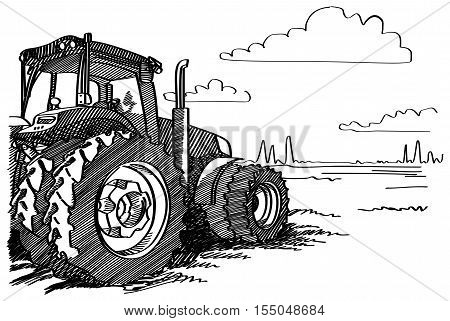 Tractor on a field. Vector freehand linear ink hand drawn icon picture sketchy in art scribble style pen on paper. Side view with space for text on land.