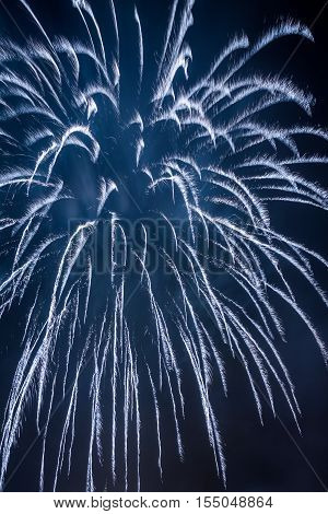 Blue Fireworks During The Celebrations Event At Night