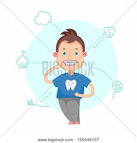 The boy with braces on a white background vector illustration.Funny cartoon character. Vector illustration.Dental children illustration.Beautiful, perfect smile, healthy teeth.