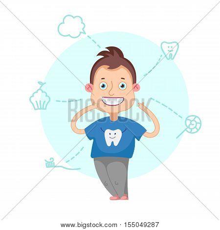 Funny cartoon character. Vector illustration.Dental children illustration.Beautiful, perfect smile, healthy teeth