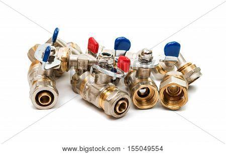 Plumbing pipe regulator isolated on white background