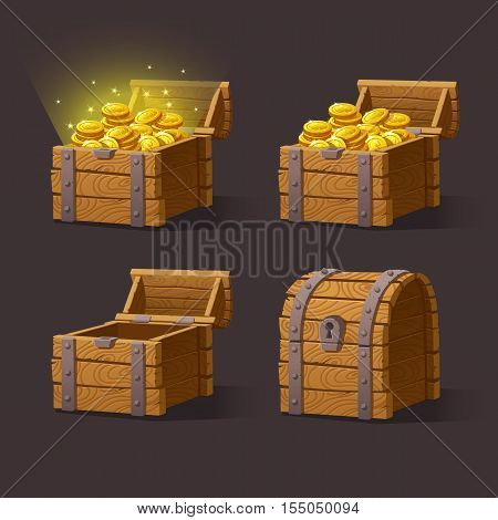 Wooden Chest set for game interface.Vector illustration. treasure chest of gold coins on dark background closed, empty, chest with golden coins.
