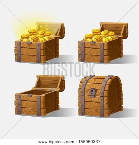 Wooden Chest set for game interface.Vector illustration. treasure chest of gold coins on background closed, empty, chest with golden coins.