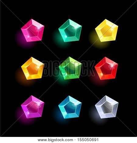 Set of cartoon pentagon different color crystals, gemstones, gems, diamonds vector gui assets collection for game design.isolated vector elements.Gui elements, vector games assets.menu for mobile games