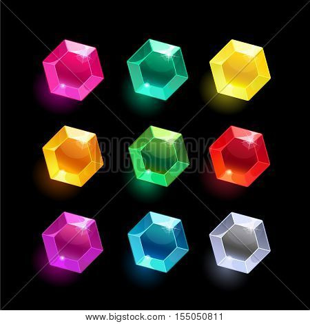 Set of cartoon hexagon different color crystals, gemstones, gems, diamonds vector gui assets collection for game design.isolated vector elements.Gui elements, vector games assets.menu for mobile games