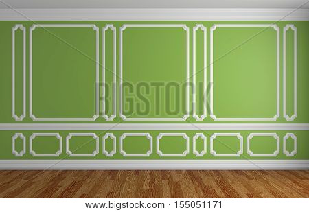 Green wall with white decorative moldings elements on wall in classic style empty room with wooden parquet floor and white baseboard classic style architectural background 3d illustration interior