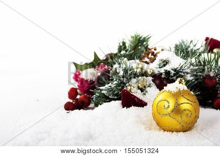 Chrismas Decorations On White Snow For Background