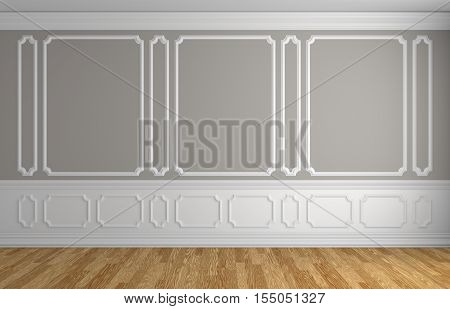 Gray wall with white moldings and decorations on wall in classic style empty room with wooden parquet floor and white baseboard classic style architectural background 3d illustration interior