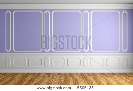 Violet wall with white moldings and decorations on wall in classic style empty room with wooden parquet floor and white baseboard classic style architectural background 3d illustration interior