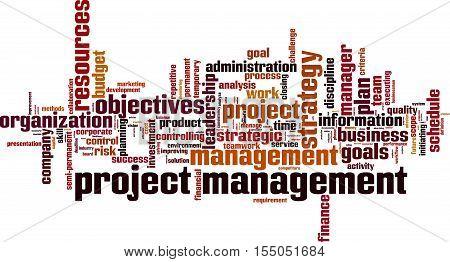Project management word cloud concept. Vector illustration