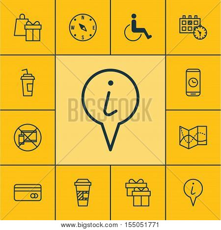 Set Of Traveling Icons On Plastic Card, Info Pointer And Shopping Topics. Editable Vector Illustrati