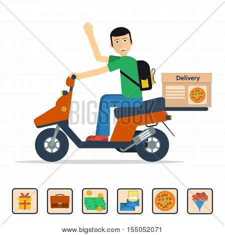Vector concept of service for pizza delivery documents flowers valuable things gifts mail. Flat happy man on scooter with a raised hand and a box on the trunk