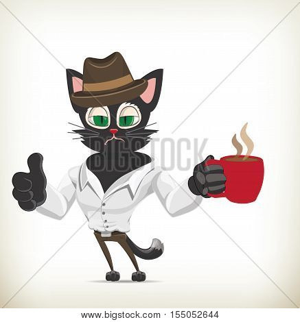 Illustration of cartoon hangover cat drinking coffee
