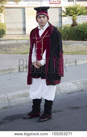 SELARGIUS, ITALY - September 9, 2012: Former marriage Selargino - Sardinia - portrait of a man of the folk group of Settimo San Pietro