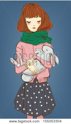 young winter woman with white hare on her hands
