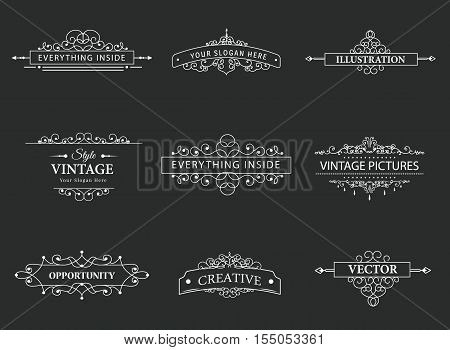 Set of creative vector templates for logos, label or banners on the theme of quality and business in vintage style. Flourishes calligraphic elements. Design frame and page decor
