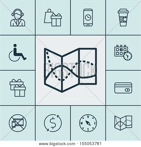 Set Of Travel Icons On Shopping, Road Map And Forbidden Mobile Topics. Editable Vector Illustration.