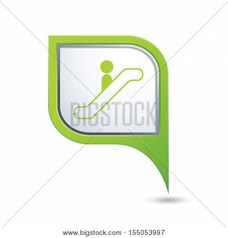 Map pointer with escalator down icon. Vector illustration