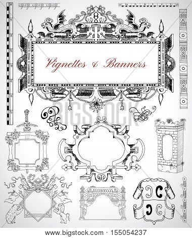 Design set with graphic drawings of antique vignettes, frames, banners and decorative labels for cards, map, posters. Engraved illustrations. Old transportation and vintage adventures concept