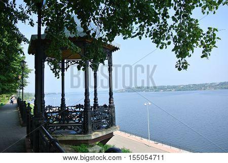 Alcove on embankment of the river Volga in Kineshma. Russia