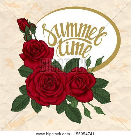 beautiful postcard with rose flowers and leaves. The inscription lettering