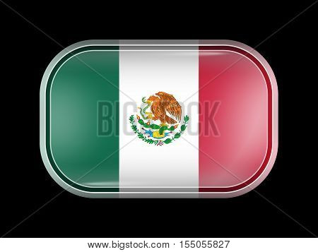 Flag Of Mexico. Rectangular Shape With Rounded Corners