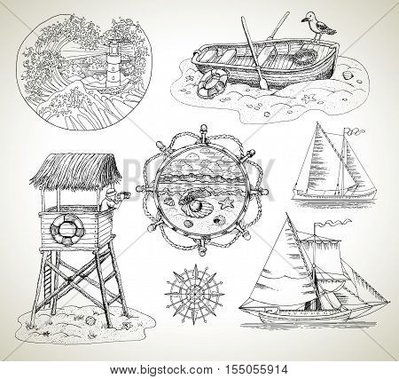 Design graphic set engraved drawings of boats, sailboats, light house and sea vintage elements and marine symbols. Old transportation concept