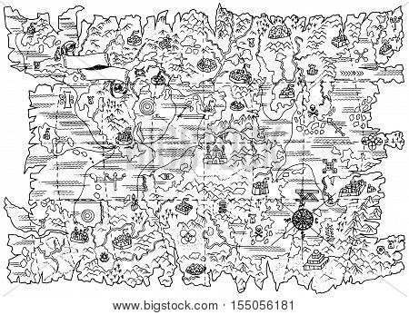 Black and white line illustration of pirate map of fantasy land with mystic and sea mythological symbols. Vintage pirate adventures, treasure hunt and old transportation concept poster